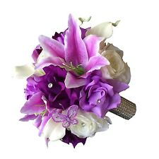 shades of purple Ivory Bridal bouquet-Calla lily Rose Butterfly silk flower