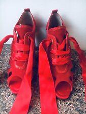 Dolce Gabbana Leg Ribbon Tie Stiletto Red Shoe Size 38