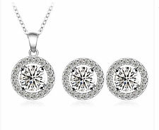 925 Sterling Silver Pave Halo Zirconia Crystal Necklace  Earrings Set