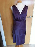 LADIES BRAVISSIMO Dress Size 12 SC Purple Satin Tiered Smart Party Evening