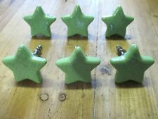 6 Green Ceramic Knobs Kitchen Cabinet Pulls Vintage Dresser Stars Fun Bedroom