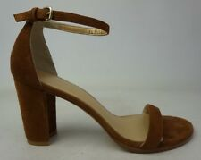 Stuart Weitzman NearlyNude Ankle Strap Sandal Brown Suede Size 9 M