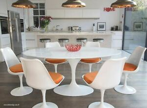 170cmx110cm White Laminate Oval Tulip Style Dining Table & 6 Tulip Style Chairs