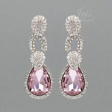 Rhodium Plated Pink Crystal Rhinestone Wedding Drop Dangle Earrings 00228 Party