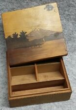 Mount Fuji Marquetry Scene Wooden Wood Five Compartment Stamp Box Vintage Gift