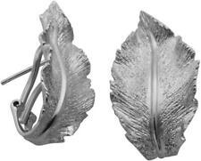 Charles Garnier Sterling Silver Curved Leaf Earrings w/ Hinged Closure