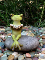 Miniature Dollhouse FAIRY GARDEN ~ Frog Reading Book on Stone ~ NEW