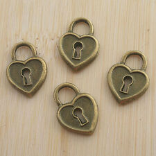 14pcs antiqued bronze color crafted heart lock design  charms  G1069