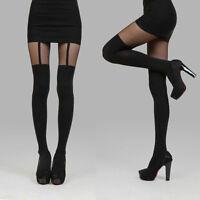 Black Thigh-Highs Fake Suspenders Pantyhose Garter Belt Tights Stockings