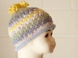 Mütze, Babymütze mit Baumwolle, gestrickt, Handarbeit, 34-38 cm