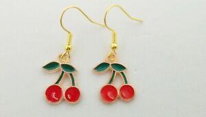 New Cherry Enamel Charm Drop Dangle Earrings Fruit Vintage Novelty Quirky Retro