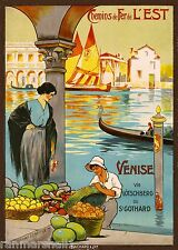 Chemins de Fer L' Est Venise Venice Italy Vintage Travel Advertisement Poster