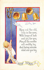 Little New Year Baby Ringing Bells c1910 Embossed Postcard