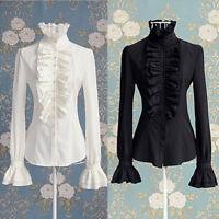 Women/Lady OL Shirts Frilly Ruffles Long Sleeve Tshirt Tops Flounce Blouse Cloth