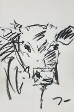 """JOSE TRUJILLO Original Charcoal on Paper Sketch Drawing 11X17"""" Cow Abstract ART"""