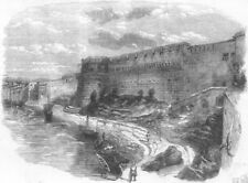 INDIA. Fort of Allahabad, from river Yamuna, antique print, 1857