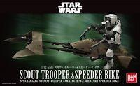 Star Wars 1/12 scout trooper & speeder bike Bandai Plastic Model Kit F/S Japan