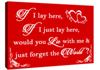If I Lay Here - Snow Patrol QUOTE Canvas Wall Art Picture Print - Red & White