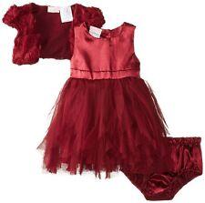 NANNETTE Baby Girl Burgundy Red Tulle Soutache Formal Holiday Dress Shrug Set 12