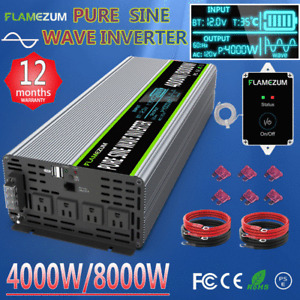 4000W 8000W Pure Sine Wave Power Inverter DC 12V to AC 120V LCD & Remote Caravan