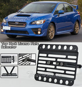 For 15-17 Subaru WRX / STi Front Tow Hook Mount License Plate Bracket Relocated