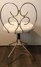 Vintage Metal Vanity Chair Boudoir Makeup Seat Swivels Brass Gold