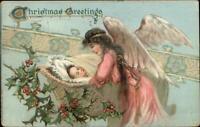 Christmas - Angel & Baby in Bassinet TUCK c1910 Postcard