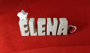 Beton, Steinguss Buchstaben 3D Deko Namen ELENA als Geschenk verpackt!