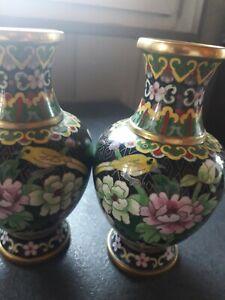 paire de vases Chinois en bronze,cuivre, émail cloisonné CHINE JINGFA