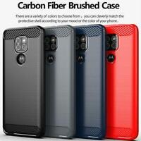 Custodia Per Motorola Uno Hyper E7 G9 Play E6s Più G8 Potenza Carbon Fibra Phone