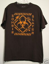 Zombie Slayer Halloween Crew Neck Brown Mens Medium Graphic T-Shirt NWOT