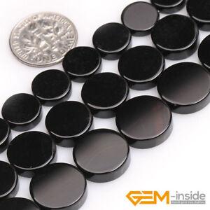 "Natural Black Onyx Agate Gemstone Coin Flatback Beads For Jewelry Making 15"" YB"