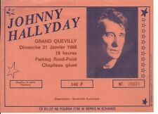 RARE / BILLET TICKET CONCERT - JOHNNY HALLYDAY A GRAND QUEVILLY ( FRANCE ) 1988