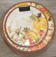 NEW Tahari Autumn Harvest Pumpkins Thanksgiving (4) Dinner & (4) Salad Plates