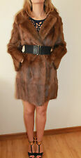 Vintage musquash visón mucrat piel chaqueta Chaquetón Talla 42 UK 14 16 * 20 *