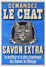 VINTAGE CAT ART PRINT - DEMANDEZ LE CHAT Savon 27.5x39.5 Advertisement Poster