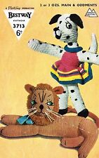 Toy Lion and Dalmation Dog  knitting pattern. Laminated copy.