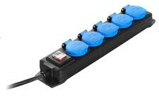 5-fach Verteilersteckdose 250V Spritzwassergeschützt, 4,5 Mtr. Sicherheitsklappd