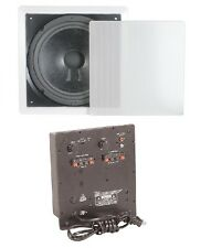 "FLUSH MOUNT 8"" IN WALL SUBWOOFER WITH AMPLIFIER HOME THEATER SURROUND SOUND"