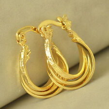Filled Womens Hoop earing Free Shipping Wedding Chic Design 14K Yellow Gold