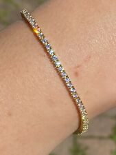 "14k Gold Over Real 925 Sterling Silver 2mm Tennis Bracelet Diamond 6-8.5"" Iced"