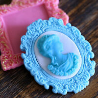 Silicone Woman Cameo Mirror Frame Fondant Mould Chocolate Cake Baking Mold Deco.