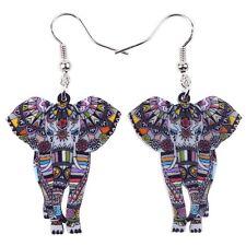 Bonsny Elephant Jungle Safari Jewellery Animal Charm Earrings Women Girls Red