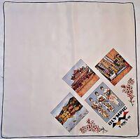 "JAPAN-VINTAGE SOUVENIR SUMMER OLIMPICS TOKYO 1964 WHITE ACETATE 27"" SQUARE SCARF"