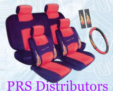 CAR SEAT COVERS RED BLACK Synthetic Leather Racing Xtreme Power in 11 Pieces