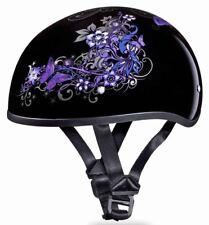 Daytona Skull Cap Purple Butterfly Half Helmet Womens Quick Release DOT 2XS-2XL