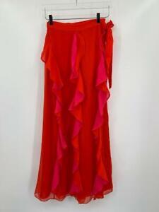 Diane von Furstenberg Salona Flamenco Manic Pink red maxi wrap skirt ruffle 6