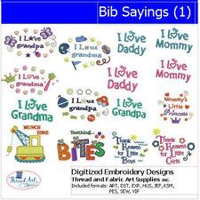 Embroidery Design CD - Bib Sayings(1) - 15 Designs - 9 Formats - Threadart