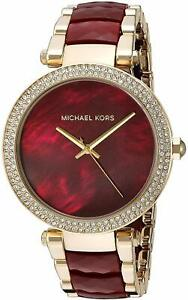 Michael Kors Parker Red Garnet Acetate Crystal Gold Dial Women's Watch MK6427