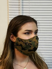 Face Mask USMC Woodland Camo Double Layer reusable washable Unisex US made